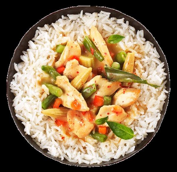 Thai Curry mit Poulet und Basmatireis gekocht (Inhalt 350 g)