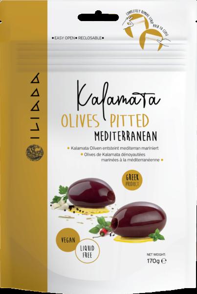 Iliada Oliven Kalamata ohne Stein mit mediterraner Marinade (Inhalt 170 g)